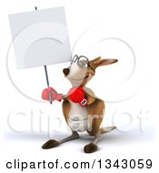 Clipart Of A 3d Bespectacled Fighter Kangaroo Wearing Boxing Gloves Looking Up And Holding A Blank Sign Royalty Free Illustration