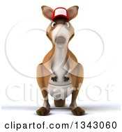 Clipart Of A 3d Kangaroo Wearing A Baseball Cap Royalty Free Illustration