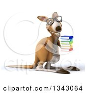 Clipart Of A 3d Bespectacled Kangaroo Facing Right And Holding A Stack Of Books Royalty Free Illustration
