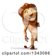 Clipart Of A 3d Full Length Male Lion By A Sign Royalty Free Illustration