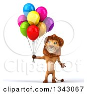 Clipart Of A 3d Male Lion Gesturing And Holding Party Balloons Royalty Free Illustration