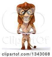 Clipart Of A 3d Bespectacled Male Lion Reading A Book Royalty Free Illustration