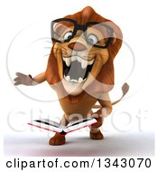 Clipart Of A 3d Bespectacled Male Lion Roaring And Holding A Book Royalty Free Illustration