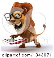 Clipart Of A 3d Bespectacled Male Lion Facing Slightly Right Roaring And Holding A Book Royalty Free Illustration