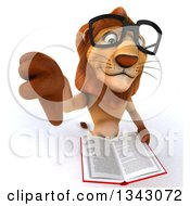 Clipart Of A 3d Bespectacled Male Lion Holding Up A Thumb Down And A Book Royalty Free Illustration