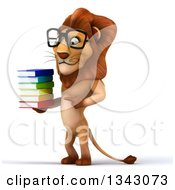 Clipart Of A 3d Bespectacled Male Lion Facing Slightly Left Holding And Pointing To A Stack Of Books Royalty Free Illustration