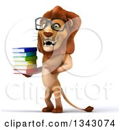 Clipart Of A 3d Bespectacled Male Lion Facing Slightly Left Holding And Pointing To A Stack Of Books 2 Royalty Free Illustration