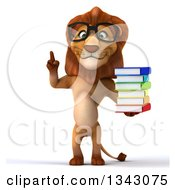 Clipart Of A 3d Bespectacled Male Lion Holding Up A Finger And A Stack Of Books Royalty Free Illustration