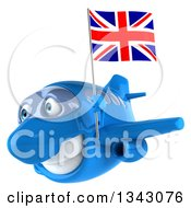 Clipart Of A 3d Happy Blue Airplane Flying Slightly To The Left With A British Flag Royalty Free Illustration