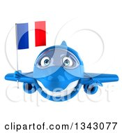 Clipart Of A 3d Happy Blue Airplane Holding A French Flag Royalty Free Illustration