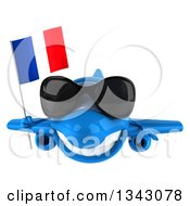 Clipart Of A 3d Happy Blue Airplane Wearing Sunglasses And Holding A French Flag Royalty Free Illustration