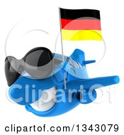 Clipart Of A 3d Happy Blue Airplane Wearing Sunglasses And Flying Slightly To The Left With A German Flag Royalty Free Illustration