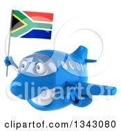 Clipart Of A 3d Happy Blue Airplane Flying To The Left With A South African Flag Royalty Free Illustration