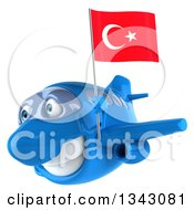 Clipart Of A 3d Happy Blue Airplane Flying Slightly To The Left With A Turkey Flag Royalty Free Illustration