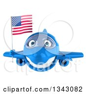 Clipart Of A 3d Happy Blue Airplane Flying With An American Flag Royalty Free Illustration
