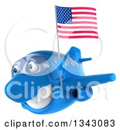 Clipart Of A 3d Happy Blue Airplane Flying Slightly To The Left With An American Flag Royalty Free Illustration