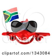 Clipart Of A 3d Happy Red Airplane Wearing Sunglasses And Flying With A South African Flag Royalty Free Illustration
