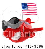 Clipart Of A 3d Happy Red Airplane Wearing Sunglasses And Flying Slightly To The Left With An American Flag Royalty Free Illustration