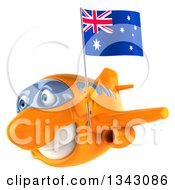 Clipart Of A 3d Happy Orange Airplane Flying Slightly To The Left With An Australian Flag Royalty Free Illustration