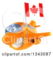 Clipart Of A 3d Happy Orange Airplane Flying Slightly To The Left And Holding A Canadian Flag Royalty Free Illustration