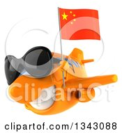 Clipart Of A 3d Orange Airplane Wearing Sunglasses And Flying Slightly To The Left With A Chinese Flag Royalty Free Illustration