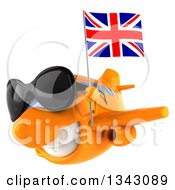 Clipart Of A 3d Happy Orange Airplane Wearing Sunglasses Flying Slightly To The Left With A British Flag Royalty Free Illustration