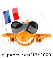 Clipart Of A 3d Happy Orange Airplane Wearing Sunglasses And Holding A French Flag Royalty Free Illustration