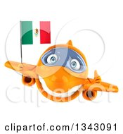 Clipart Of A 3d Orange Airplane Giving A Thumb Up And Flying With A Mexican Flag Royalty Free Illustration