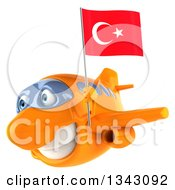 Clipart Of A 3d Happy Orange Airplane Flying Slightly To The Left With A Turkey Flag Royalty Free Illustration