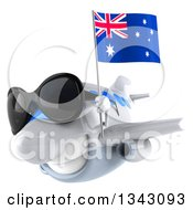Clipart Of A 3d Happy White Airplane Wearing Sunglasses And Flying Slightly To The Left With An Australian Flag Royalty Free Illustration