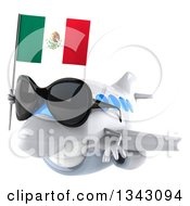 Clipart Of A 3d White Airplane Wearing Sunglasses And Flying Slightly To The Left With A Mexican Flag Royalty Free Illustration