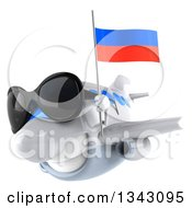 Clipart Of A 3d Happy White Airplane Wearing Sunglasses And Flying Slightly To The Left With A Russian Flag Royalty Free Illustration