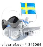 Clipart Of A 3d Happy White Airplane Wearing Sunglasses And Flying Slightly To The Left With A Swedish Flag Royalty Free Illustration