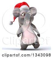 Clipart Of A 3d Christmas Koala Wearing A Santa Hat And Walking Royalty Free Illustration