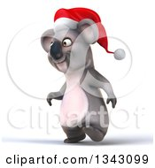Clipart Of A 3d Christmas Koala Wearing A Santa Hat And Walking Slightly To The Left Royalty Free Illustration by Julos