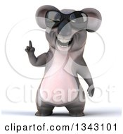 Clipart Of A 3d Koala Wearing Sunglasses And Holding Up A Finger Royalty Free Illustration