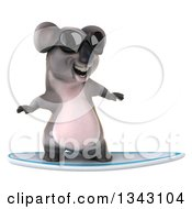 Clipart Of A 3d Koala Wearing Sunglasses And Surfing 2 Royalty Free Illustration by Julos