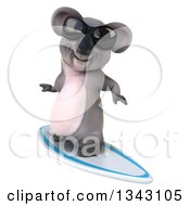 Clipart Of A 3d Koala Wearing Sunglasses And Surfing 3 Royalty Free Illustration
