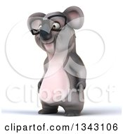 Clipart Of A 3d Bespectacled Koala Facing Slightly Left Royalty Free Illustration by Julos