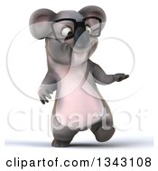 Clipart Of A 3d Bespectacled Koala Walking And Presenting Royalty Free Illustration by Julos