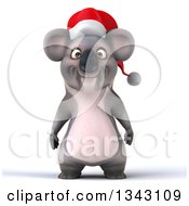 Clipart Of A 3d Christmas Koala Wearing A Santa Hat Royalty Free Illustration by Julos