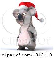 Clipart Of A 3d Christmas Koala Wearing A Santa Hat Facing Slightly Left Royalty Free Illustration