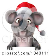 Clipart Of A 3d Christmas Koala Wearing A Santa Hat Over A Sign Royalty Free Illustration by Julos