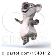 Clipart Of A 3d Koala Facing Slightly Left And Jumping Royalty Free Illustration by Julos