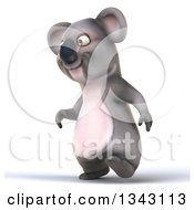 Clipart Of A 3d Koala Walking Slightly To The Left Royalty Free Illustration