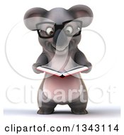 Clipart Of A 3d Bespectacled Koala Reading A Book Royalty Free Illustration