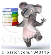 Clipart Of A 3d Happy Koala Jumping And Holding A Stack Of Books Royalty Free Illustration by Julos