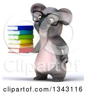 Clipart Of A 3d Bespectacled Koala Facing Slightly Left And Holding A Stack Of Books Royalty Free Illustration