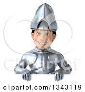 Clipart Of A 3d Caucasian Male Armored Knight Over A Sign Royalty Free Illustration