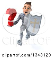 Clipart Of A 3d Caucasian Male Armored Knight Holding A Question Mark And Shield Sprinting Royalty Free Illustration